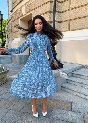 Женское шифоновое платье миди с принтом3 фото