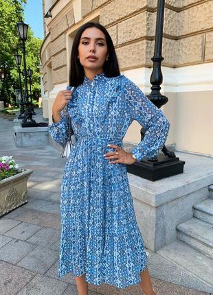 Женское шифоновое платье миди с принтом1 фото