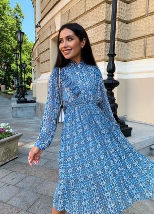 Женское шифоновое платье миди с принтом7 фото