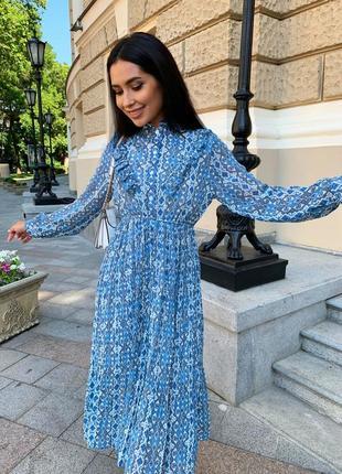 Женское шифоновое платье миди с принтом6 фото