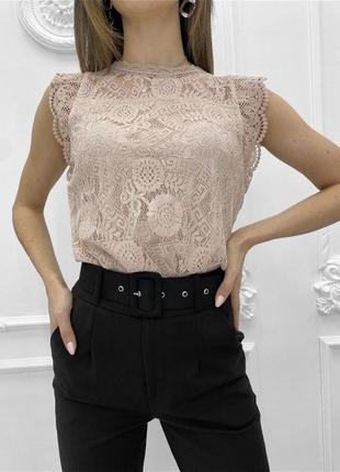 Женская ажурная гипюровая блуза майка без рукава1 фото