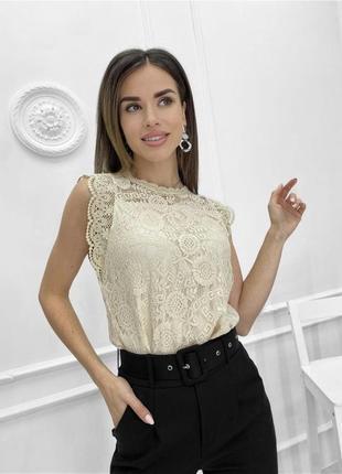 Женская ажурная гипюровая блуза майка без рукава2 фото