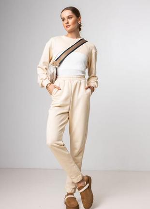 🔥акция🔥 спортивный костюм с укороченным свитшотом, беж