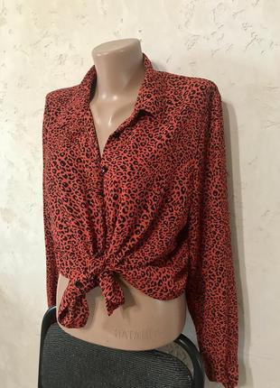Рубашка красная леопардовая удлинённая