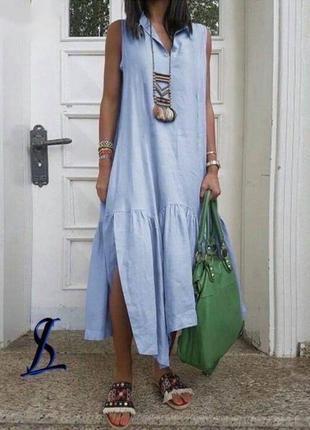 Стильное свободное коттоновое платье