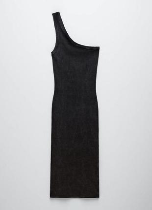 Платье серое в рубчик ассиметричное на одно плечо трикотажное хлопковое zara