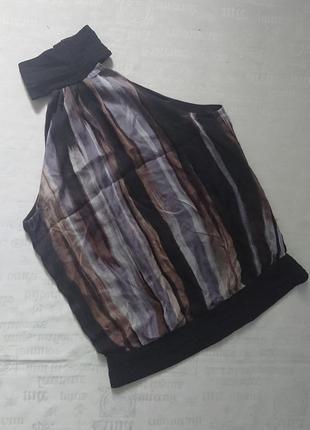 Эффектная блуза без рукавов zara/топ под шею/майка из шелка #63%шелк#