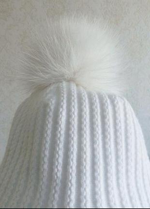 Новая белая шапка на зиму/шерсть с мехом, флис, акрил, теплая зимняя.