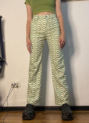 Зелёные штаны в принт зебры bershka dollskill y2k indiekid patchwork alt