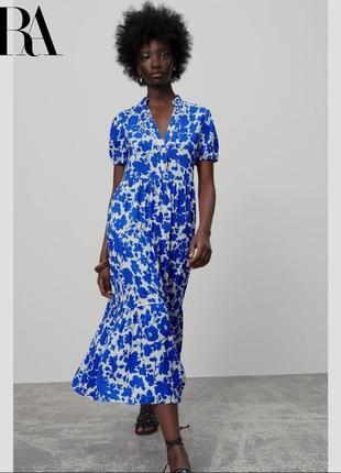 Zara платье с синими цветами