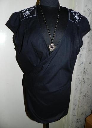 Натуральная-хлопок,блузка на запах,с вышивкой,бохо,большого размера,lindex