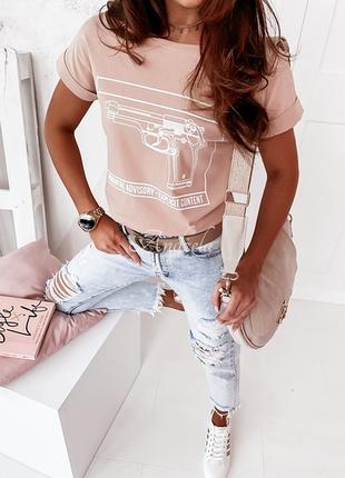 Футболка женская с надписью и прикольным принтом, однотонные стильные футболки и майки (чёрный, белый, пудра)