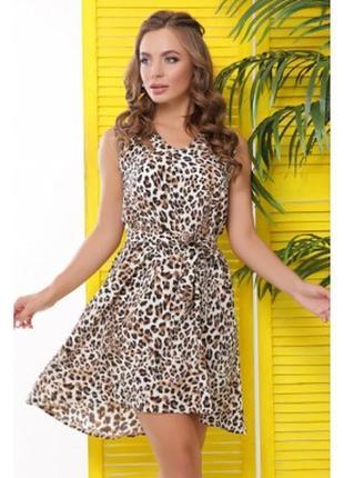 Платье шифоновое ,без рукавов,с леопардовым принтом, h&m