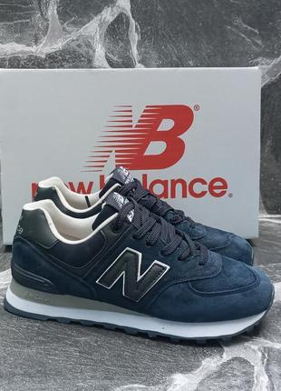 Женские кроссовки new balance синие, замшевые, осенние