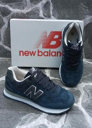 Женские кроссовки new balance синие, замшевые, осенние4 фото