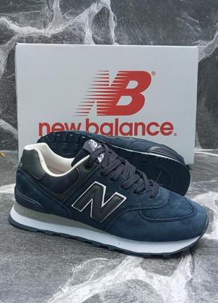 Женские кроссовки new balance синие, замшевые, осенние3 фото