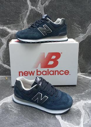 Женские кроссовки new balance синие, замшевые, осенние2 фото
