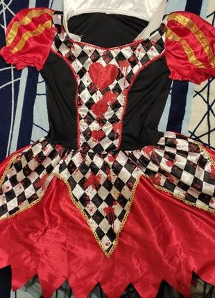 Карнавальное платье красной королевы из алиса в стране чудес размер s