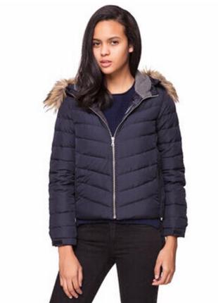 Крутой синий укороченый короткий пуховик /зимняя куртка gap на пуху