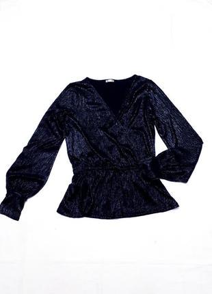 Zara блузка блуза черная с серебряным блеском в стиле бохо р s