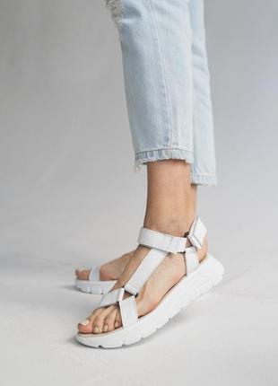 Белые женские сандали босоножки кожаные (из натуральной кожи белого цвета)