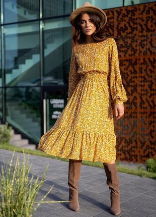 Платье миди с длинным рукавом в цветок цветочек цветочный принт