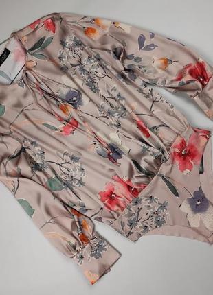 Блуза боди новая классная нюдовая в принт крутая zara m