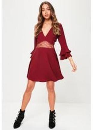 Missguided платье бордо бордовое марсала бургунди винное с гипюровой вставкой новое