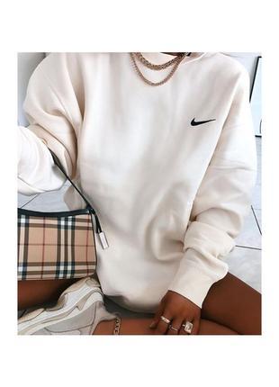 Женский свитшот nike белый oversize (оверсайз) кофта-толстовка найк с логотипом на сердце