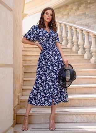 Легкое платье со штапеля в цветочный принт1 фото