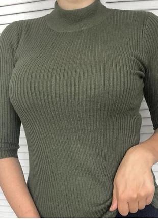 Шелковый лонгслив топ футболка гольф американка в рубчик хаки