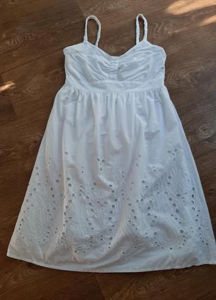 H&m платье сарафан белый из натуральной ткани с прошвой