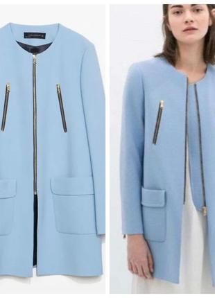 Голубое пальто zara на молнии