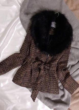 Твидовое пальто со съёмным мехом