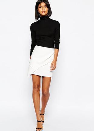 La redoute юбка белая миди классика в офис стильная хлопок с запахом прямая карандаш