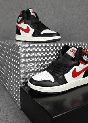 Nike air jordan 1 высокие белые с чёрным и красным