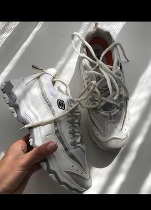 Кроссовки ideal белые высокая подошва рефлективные