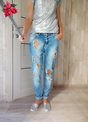 Джинсы бойфренды, летние рваные джинсы 👖