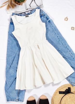 Летний белый сарафан солнце клеш, молочное платье пышное короткое, сукня, плаття