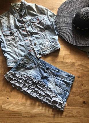 Юбка джинсовая с воланами