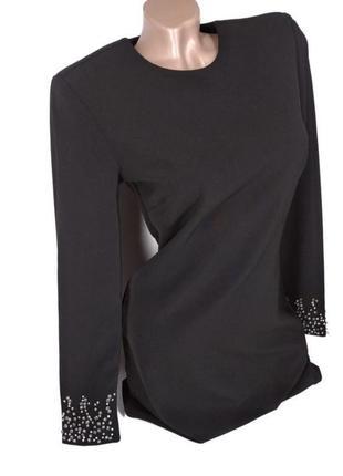 🛍️super sale -50%🛍️красивое вечернее черное платье с камнями костюмная ткань от h&m size 36