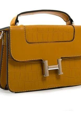 Небольшая яркая, желтая, сумка-клатч