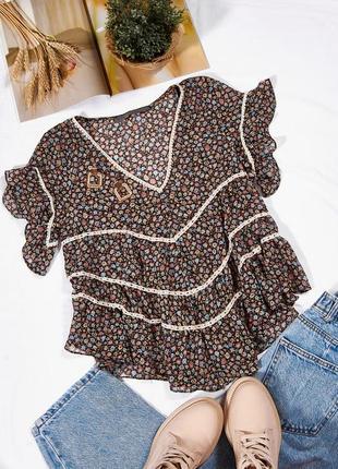 Летняя блузка шифоновая, легкая блузка с коротким рукавом, стильная блузка