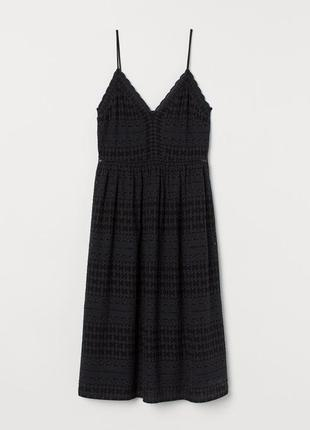 Вышитое чёрное платье сарафан h&m