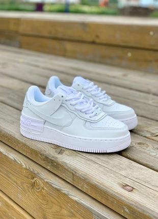 Nike air force shadow full white кроссовки найк женские форсы аир форс кеды белые4 фото