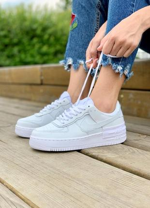 Nike air force shadow full white кроссовки найк женские форсы аир форс кеды белые6 фото