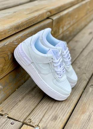 Nike air force shadow full white кроссовки найк женские форсы аир форс кеды белые2 фото