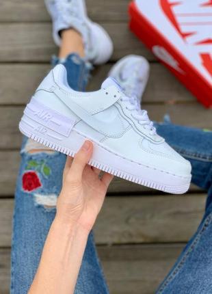 Nike air force shadow full white кроссовки найк женские форсы аир форс кеды белые