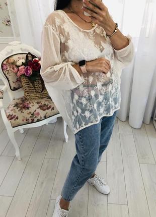 Ажурная  блузка с вышивкой оверсайз распашонка