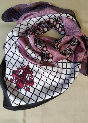 Сиреневый платок косынка для волос твилли сиреневый